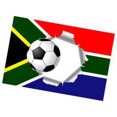 South Africa flag with soccer ball passing through