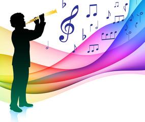 Flute Player on Musical Note Color SpectrumOriginal Vector Illus