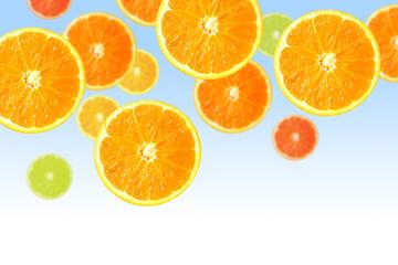 Orange slices on blue