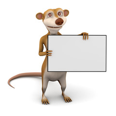 Animal holding sign