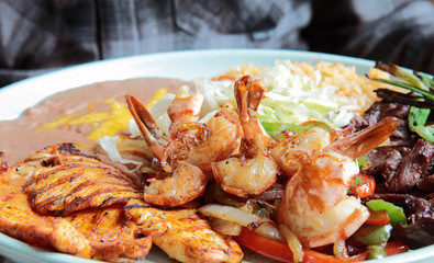 Grilled Mexican Platter of Shrimp and Chicken