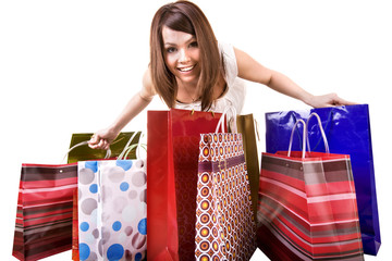 Girl with group of shopping bag. Isolated.