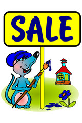 "Frame ""sale"" with  painter mouse and house"