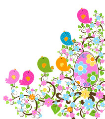 Wall Murals Birds, bees easter design