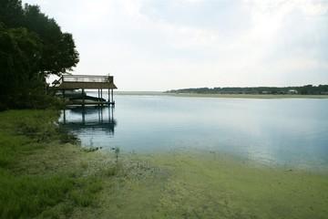 Beautiful lake landscape horizontal view in Texas, nature