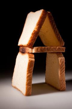 White bread slices house