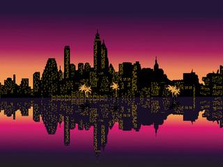 Mirror Purple Night City Palms. Vector Illustration.