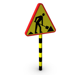 3d road works sign