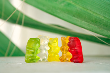colorful gummy bears having fun