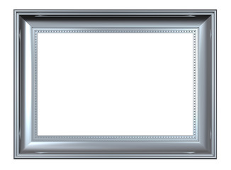 Shiny silver rectangular frame isolated on white background
