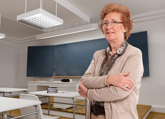 Senior lady in a classroom