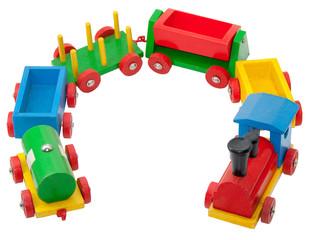 Bunte Holzeisenbahn mit Waggons