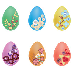 Vector illustration of painted vector eggs isolated on white
