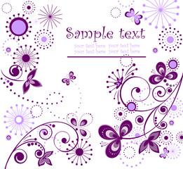 Greeting vintage violet card
