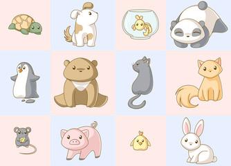Animals kawaii set