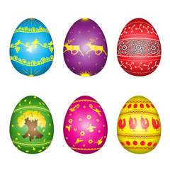 Set of easter eggs with the yellow painting