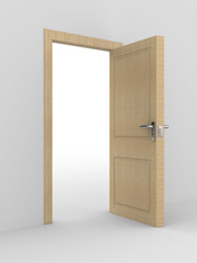 wooden open door. 3D image. home interior