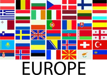 collection of european flags - vector