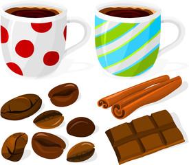 Set of coffee and chocolate