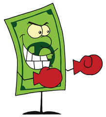 Dollar bill wearing boxing gloves ready for battle