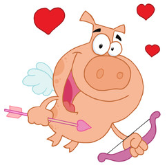 Cupid pig flying with hearts