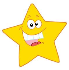 Happy yellow star smiling