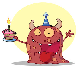Foto auf Leinwand Kreaturen Happy Red Monster Celebrates Birthday With Cake