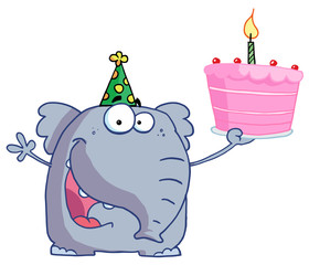 Elephant holds birthday cake