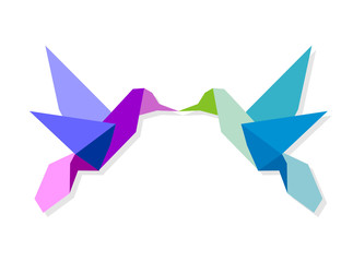 Poster Geometric animals Couple of colorful origami hummingbird