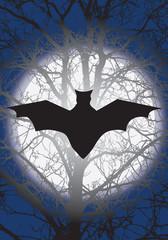 big black bat and a full moon at night