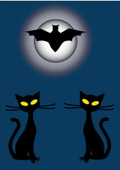 two cats and flying bat at night