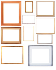Ten antique picture frames. High resolution