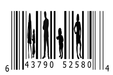 Barcode and people silhouettes