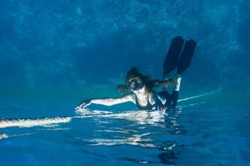 mermaid. free diving girl.