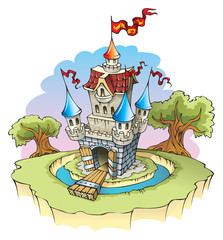 Spoed Fotobehang Kasteel Cartoon fantasy castle, surrounded by water moat, vector
