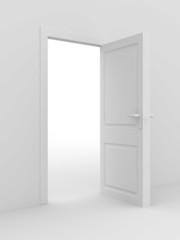 white open door. 3D image. home interior