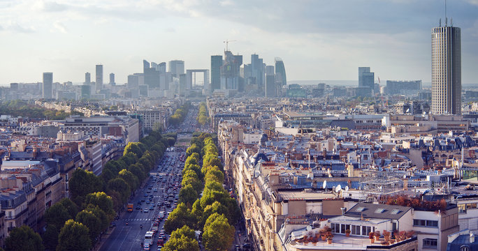 The Champs Elysees and La Defense in late afternoon light