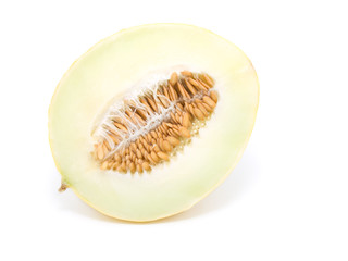 half yellow melon isolated on white background