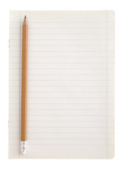 notepad and pencil on a white background