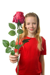 girl with silk red rose over white background