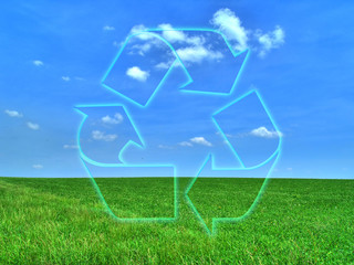 field background with recycle symbol