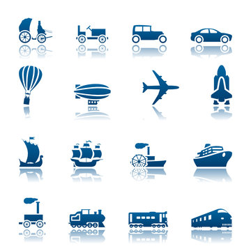 Transportation progress icon set