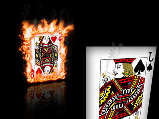 Queen of Hearts on Fire & Jack of Spades Smoking