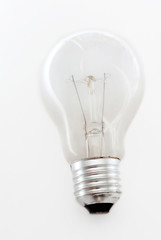 Light bulb on white background