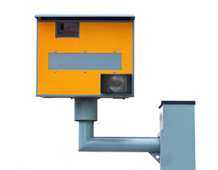 Yellow traffic speed camera isolated on white