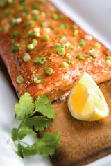 Salmon on a Cedar Plank with Lemon