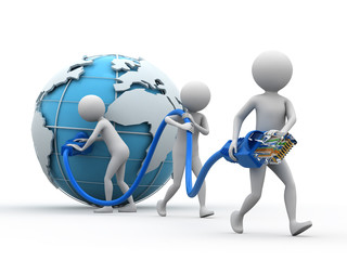 Team of people carrying an Internet cable.