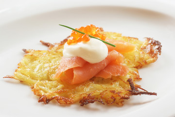 Potato Pancake with Smoked Salmon