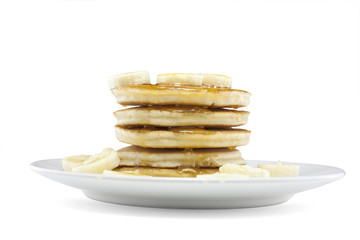 pancakes with syrup and banana