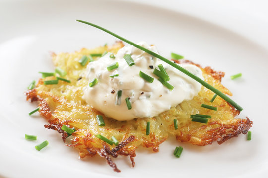 Potato Pancake with Sour Cream and Chives